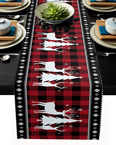 Christmas Table Runner-Red Black Buffalo Plaid Check-Cotton Linen-Winter Dinner Scarf Décor,Long 72 Inch Holiday Reindeer Tree Dresser Scarves,Xmas Kitchen Coffee/Dining Home Living Room Tablerunner