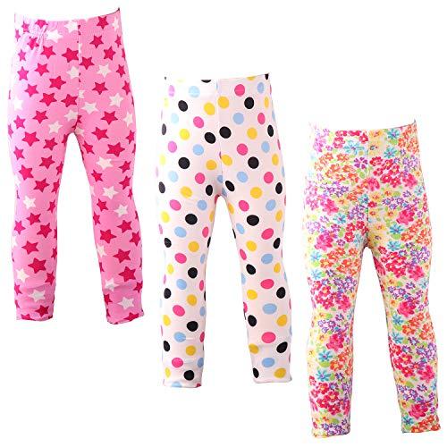 Snyemio Pantalones Leggings Estampado Elásticos Stretch Medias para Niña 2-13 Años Paquete de 3 (Azul, 134-140)