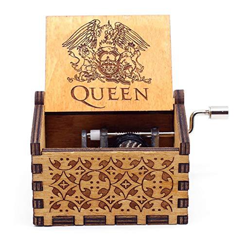 Goodangie00 Hölzerne Spieluhr Holz Handkurbel Graviert Musikbox Vintage Hochzeit Valentinstag Weihnachten Geburtstagsgeschenk - Bohemian Rhapsody
