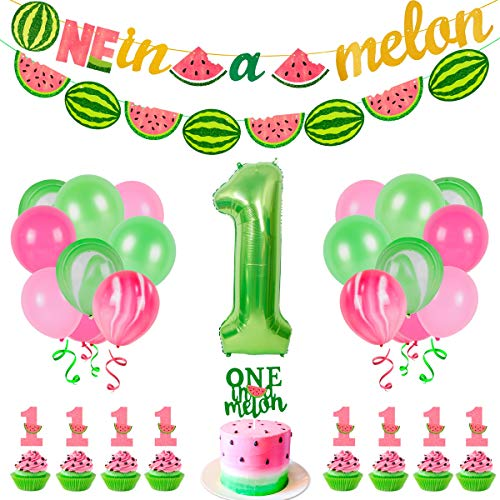 35 PCS Watermelon Party Decorations - Baby Boy Girl 1st Birthday One In A Melon Party Supplies For Kids Include Watermelon Birthday Theme Balloon Paper Banner Cake Topper By Patimate