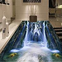 Bosakp カスタム床壁画壁紙3D Hdバレー滝浴室リビングルームの床ステッカー防水自己接着写真壁紙 200X140Cm