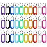 30 Stück Schlüsselanhänger zum Beschriften, Schlüsselschilder Kunststoff mit Ring auswechselbare Etiketten in 10 Farben schwarz, rot, gelb, weiß, grün Schlüsseletiketten bunt