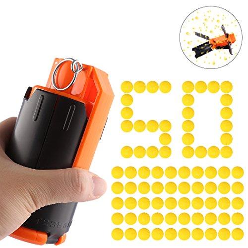 Lommer Wasserkugeln Bombe Water Bomb Modifiziertes Spielzeug Wasser Granate + 50 PCS Runde Weiche Kugel für CS und Nerf Spiele (Schwarz, Orange)