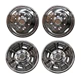 DOBI 4pcs Front+Rear Polished Stainless Steel 17' Wheel Simulators Dually 8 Lug 4 Hand Hole Hub Caps Skins Liners Covers w/Installation Set Compatible with 05-14 F-350 Super Duty with 17' 8 Lug