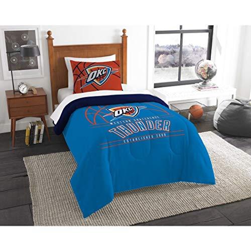 B62830000 570B6783000001 EN 2 Piece NBA Thunder Comforter Twin Set, Basketball Themed Bedding Sports Patterned, Team Logo Fan Merchandise Athletic Team Spirit Fan, Blue Multi, Polyester