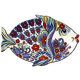 Grande piatto di frutta in ceramica creativa, simpatico piatto di pesce, vassoio del soggiorno, piatto decorativo personalizzato, microonde, lavastoviglie e forno sicuro