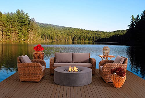 Pyromania Avalon Outdoor Fire Table, Fire Pit Table. Hand Crafted from Concrete. 60,000 BTU Stainless Steel Burner with Electronic Ignition - Natural Gas (Slate)