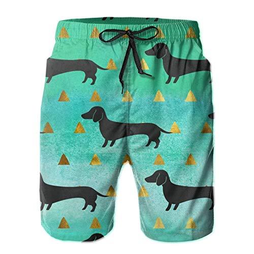 ZORIN Badehose für Herren mit buntem Dackel, lustiger Hund, goldfarben, 3D-Bademode, weiß, S 7-9