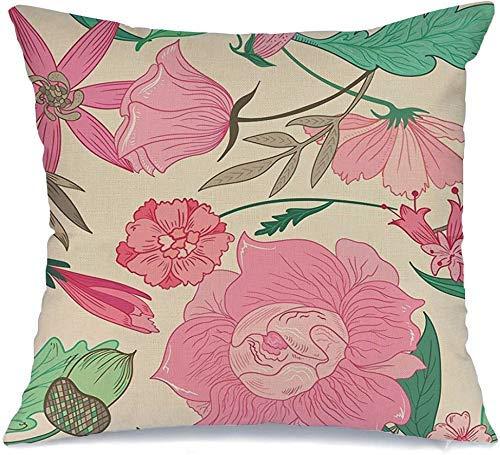 Decoración Throw Pillow Cover Funda de cojín Beige Verano Patrón Colores pálidos Flor en Vintage Rosa Menta Plantas Flores Floral Naturaleza Colorido Funda de Cojine 45 X 45CM