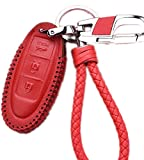 WAFERN Red Nissan Leather Car Keyless Entry Remote Control Smart Key Fob Case Cover with Braided Key Chain & Key Rings for Nissan Pathfinder Versa Juke 370Z Murano Rogue (3 Button)