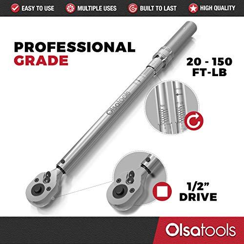 Olsa Tools Click Torque Wrench, 1/2-Inch Drive (20-150 ft-lb Torque Range) | Premium Precision Ratcheting Adjustable Torque Wrench | ±3% Torque Accuracy Clockwise | Professional Grade