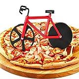 WELLXUNK Cortador de Pizza, Cortapizzas Antiadherente, Corta Pizza Bicicleta, Apto para Hogar y Cocina/Mejor Regalo/Acero Inoxidable/con Soporte (Rojo)