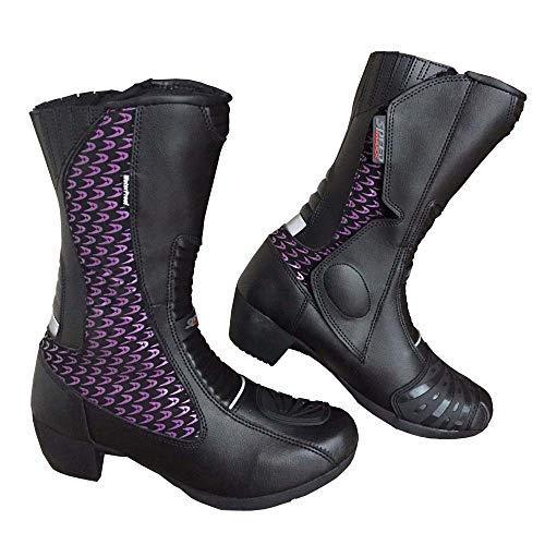 Speed Maxx Damen Motorradstiefel Violett Leder