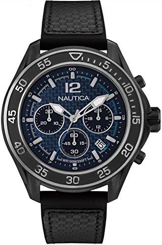 nautica- nmx 1600 Carbon Fiber Reloj para Hombre Analógico de Cuarzo con Brazalete de Goma NAD25506G