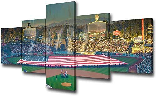 Aooseso® 5-Teiliger Kunstdruck Auf Leinwand 200X100Cm Wohnzimmer Wanddekoration, Los Angeles, Kalifornien, Usa Dekor 5 Panel Canvas Bilder Baseball Kunstwerk Malerei Moderne Wohnkultur - Leinwand Wan