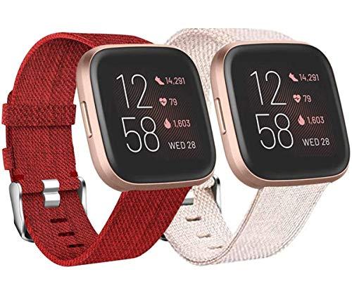 Wepro 2 Pack Armband für Fitbit Versa/Fitbit Versa 2/Fitbit Versa Lite für Frauen Männer, Atmungsaktives Woven Uhrenarmband Verstellbares Ersatzarmband für Fitbit Versa Smartwatch, Aprikose/Rot L
