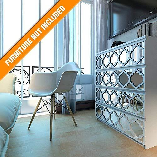 HomeArtDecor | Trellis Gitterwerk | Geeignet für IKEA Malm | 80 x 20 cm | Farbe: Weiß und Spiegel...