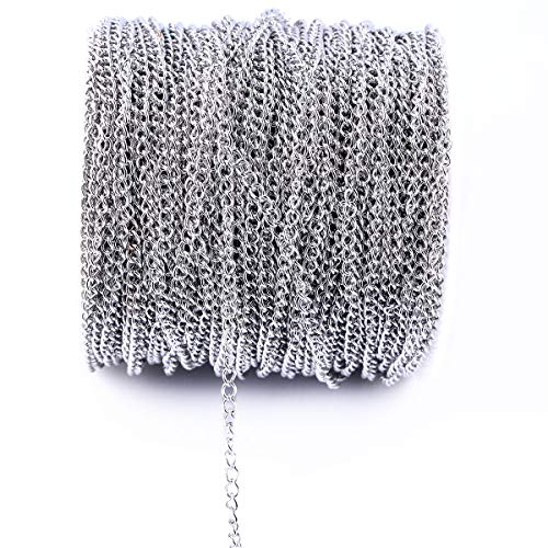 10m 33FT Stainless Steel Cable Chain Link in Bulk for Necklace Jewelry Accessories DIY Making 3.5x5mm