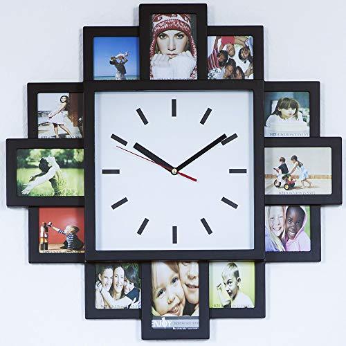 Monsterzeug Bilderrahmen Uhr, Design Wanduhr mit Fotorahmen, Wanduhr Bilderrahmen für zwölf Fotos, Fotouhr, Fotogalerie Uhr zum Selbstgestalten, Bilderuhr Foto Collage, Schwarz
