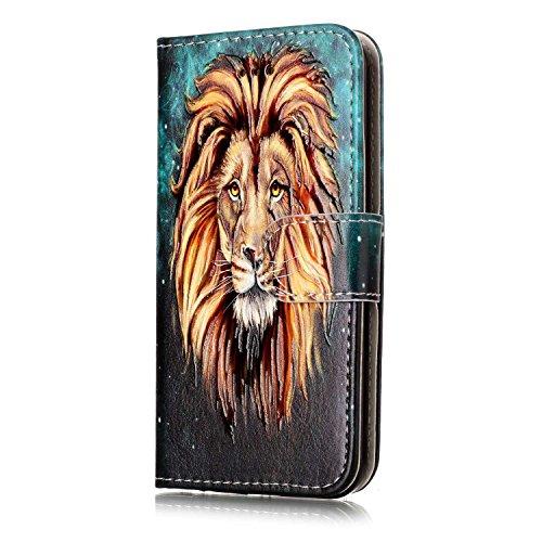 ISAKEN Compatibile con iPhone iPod Touch 5 / Touch 6G Cover - Libro Wallet Flip Portafoglio Custodia Cover in PU Pelle Sollievo Pattern con Supporto di Stand/Carte Slot/Chiusura - Testa di Leone