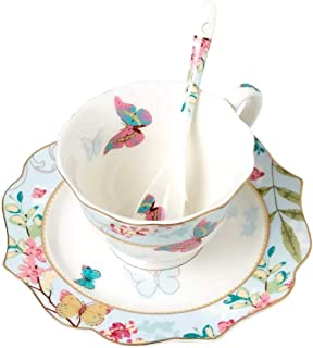 Krysclove Vintage Butterfly Bone China Teacup Spoon and Saucer Set, Delicate Royal Bone China Coffee Mug Print Cup Ceramic Tea Cups (Blue)