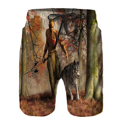 Pantalones Cortos De Playa para Hombres,Cazador Nativo Americano y Lobo,Pantalones De Chándal De Secado Rápido, Bañador De Verano para Ejercicios Al Aire Libre 3XL