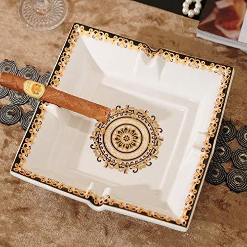 Cenicero de cerámica hecho a mano con diseño de cuadrícula para cigarros, cenicero de lujo, cenicero para casa, mesa de comedor, accesorios de escritorio, regalos de decoración   Cenicero  