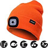 OMOUP Camping Outdoor LED Kappe 4 LED Hut USB aufladbare Caps für Männer Frauen warme Strickmütze...