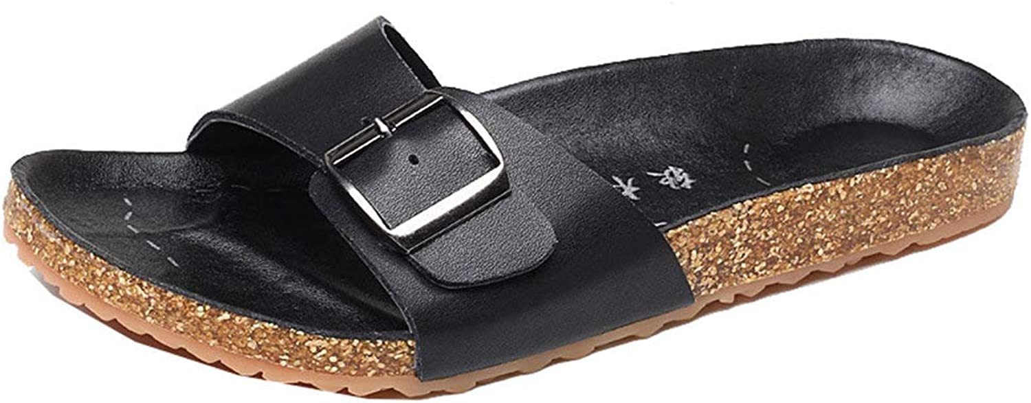 Hevego Zandalias Soft Wood Cork Anti Slip Flat Slides Beach Sandals for Women