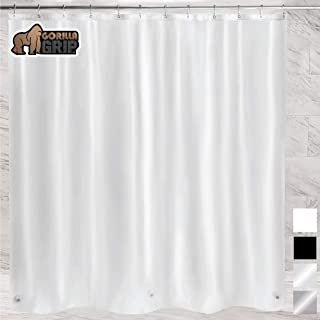 Gorilla Grip Premium PEVA Shower Curtain, 72x72, Strongest, Mildew Resistant, BPA Free, Waterproof, Magnets in Curtains, Rust Resistant Grommets, Fits Standard Bathtub and Showers, Single, Frosted