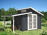 CARLSSON Alpholz Gartenhaus Aktiva aus Massiv-Holz | Gerätehaus mit 28 mm Wandstärke | Garten Holzhaus inklusive Montagematerial | Geräteschuppen Größe: 320 x 320 cm + 150 cm | Pultdach