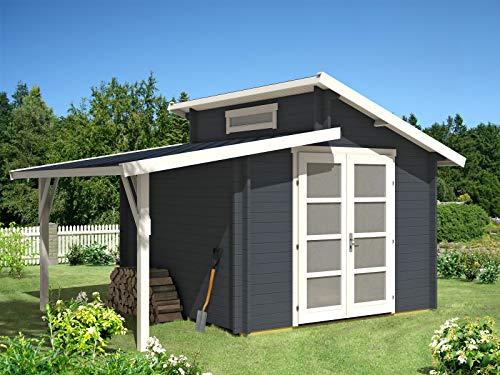 Alpholz Gartenhaus Aktiva mit Schleppdach aus Massiv-Holz | Gerätehaus mit 40 mm Wandstärke | Garten Holzhaus inklusive Montagematerial | Geräteschuppen Größe: 320 x 320 cm | Pultdach