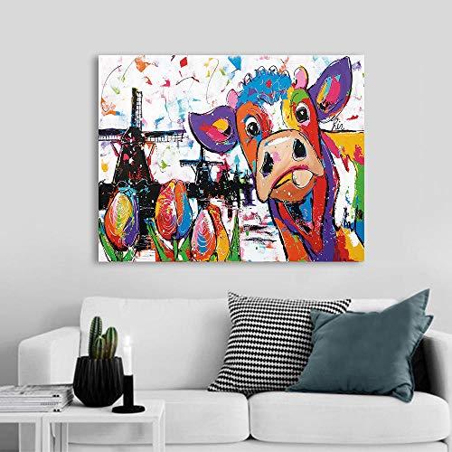 QianLei Vrolijk Schilderij Wandkunst Holland Koe Canvas Schilderij Dieren Beelddrukken Home Decor 40x60cm No Frame