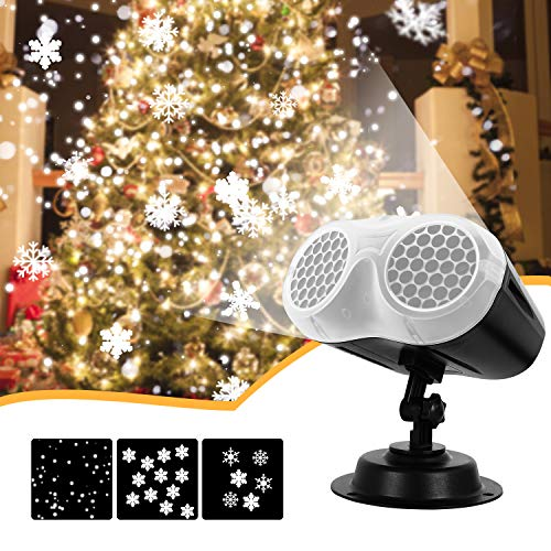 Christmas Projector Lights, Comkes Upgrade Dynamic Snowflake Projector Lights, Snowfall Light Show, Waterproof, for Christmas, Halloween, Party, Wedding and Indoor,Outdoor Decorations