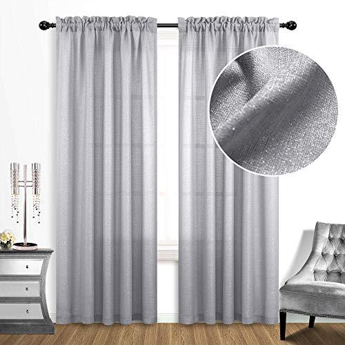 Silver Curtains 84 Inch Length for Living Room Decor Set 2 Panels Rod Pocket Window Semi Sheer Sparkle Glam Shimmer Shiny Glitter Linen Textured Elegant Light Grey Curtains for Bedroom Gray 84 Long