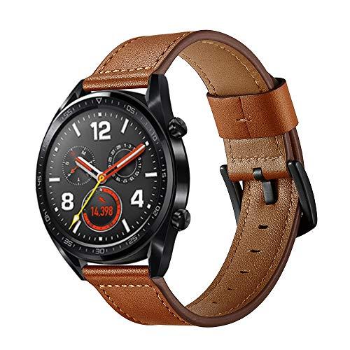 XZZTX Horlogeband Compatibel met Huawei Horloge GT 1/2 46mm/Honor Horloge Magic/Galaxy Horloge 46mm/Garmin Vivomove HR, 22mm Lederen Vervangende Band Polsband