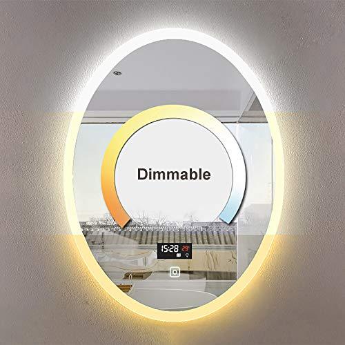 Espejo de Pared, Espejo de Tocador Ovalado con Iluminación LED, Función Antivaho e Interruptor Táctil Regulable, 50x70cm