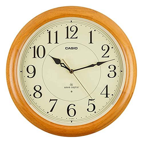 CASIO(カシオ) 掛け時計 電波 ブラウン 直径34cm アナログ 木枠 常時点灯 夜間秒針停止 IQ-1150NJ-7JF