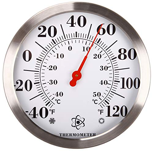 "MIKSUS 12"" Premium Steel Decorative Thermometer Indoor Outdoor (Upgraded Accuracy and Design) No Battery Needed"