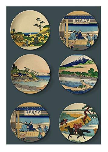 Japonés Ukiyoe - Platos redondos para colgar de cerámica, decoración de pared, decoración rústica para el hogar, con soporte gratuito, 50,3 cm
