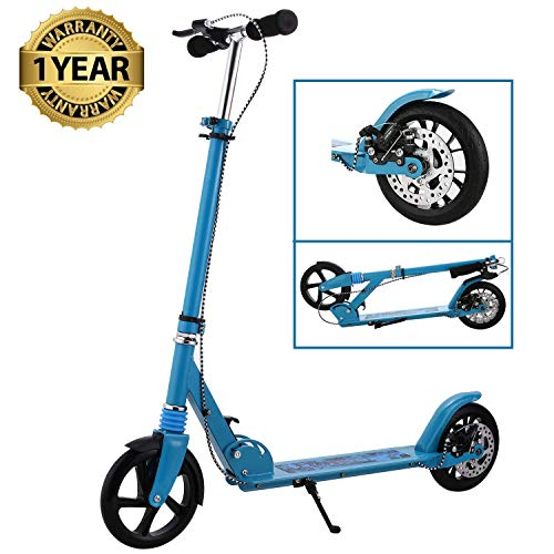 fiugsed Erwachsene City Roller Scooter, Leicht Scooter T-Style Stabile Aus Aluminiumlegierung, Klapproller mit Scheibenbremse und 200mm großen Rädern (Blau mit Scheibenbrems)