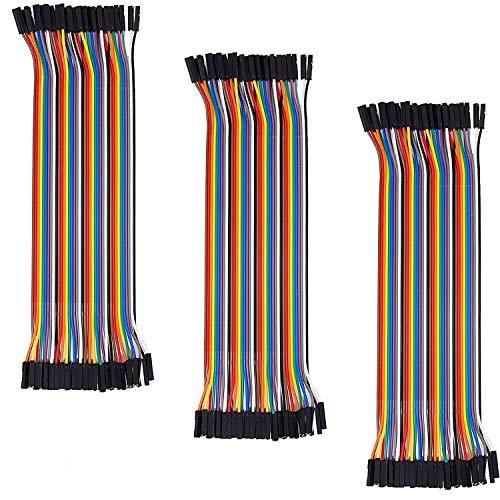 AZDelivery 3 x Jumper Wire Kabel 40 STK. je 20 cm F2F Female to Female kompatibel mit Arduino und Raspberry Pi Breadboard inklusive E-Book!