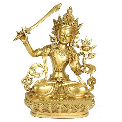 Adorno, Estatua de Buda Manjushri Adornos de estatuilla Esculturas del Dios de la sabiduría de latón Hogar Oficina Decoración Religiosa Regalo, Latón