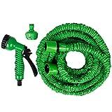 Andux Flexible Expandable Garden Hose Pipe Water Spray Gun Nozzle-No Kink (50FT)
