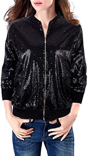 VIJIV Womens Casual 3 4 Sleeves Sequin Blazer Jacket Front Zip Short Bomber Jacket Coat Party product image