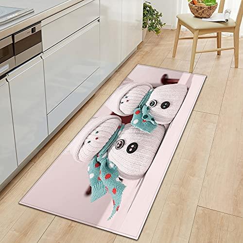 OPLJ Alfombrillas de Cocina Antideslizantes, alfombras de baño Lavables, Adornos navideños, alfombras de Puerta de Entrada de Dormitorio de Pasillo de casa A5 50x160cm
