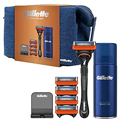 Gillette Gift Set Fusion Razor For Men + 4 Replacement Blades, Shaving Gel 75 ml, Razor Stand