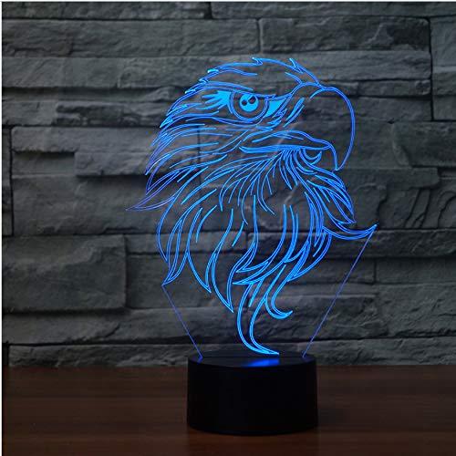 Cadeau Saint Valentin 3D Usb Visuel 7 Couleurs Acrylique Eagle Moulage Bureau Lampe Led Gradient Atmosphère Nuit Lumière Tactile Bouton Cadeau Home Lampara Décor