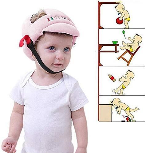 Casco de Seguridad para Bebés Sombrero de Protección Antichoque Protector de Cabeza Anti Caída con Dibujos Animados Casquillo Ajustable Anti Golpes para Niños (Rosa) 🔥