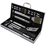 Home-Complete BBQ Grill Tool Set- 16 Piece Stainless Steel Barbecue Grilling Accessories with Aluminum Case,...
